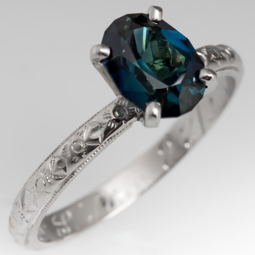 Deep Teal Sapphire Solitaire Ring w/ Floral Antique Wedding Band