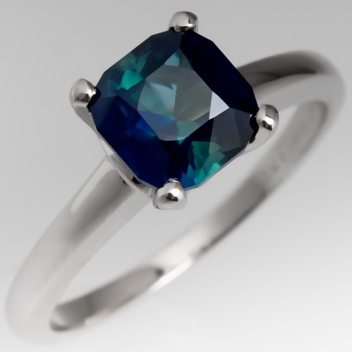 Natural Blue Green Sapphire Solitaire Ring Platinum