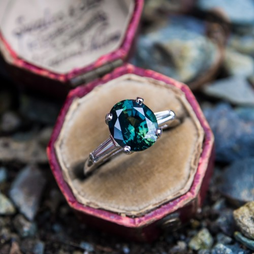 Deep Bluish Green Sapphire Engagement Ring Platinum / Baguette Diamonds