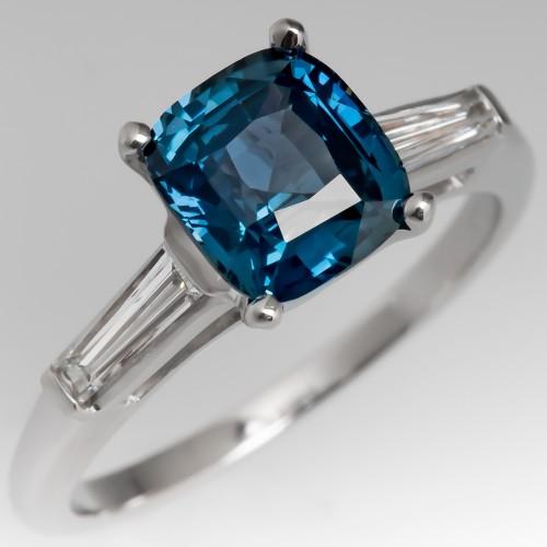 2 Carat Cushion Cut Blue Green Sapphire Engagement Ring
