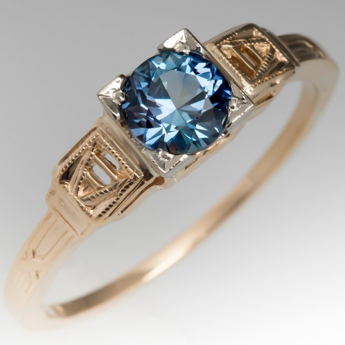 Montana Sapphire Engagement Ring Ornate Mid Century 14K Gold Mounting