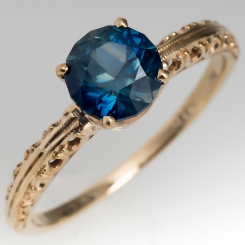 Velvety Greenish Blue Sapphire Solitaire Engagement Ring Jabel 14K Yellow Gold