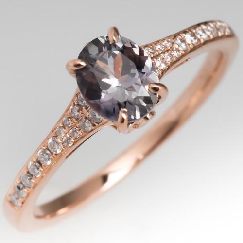 Rose Gold Pinkish Lavender Montana Sapphire Engagement Ring
