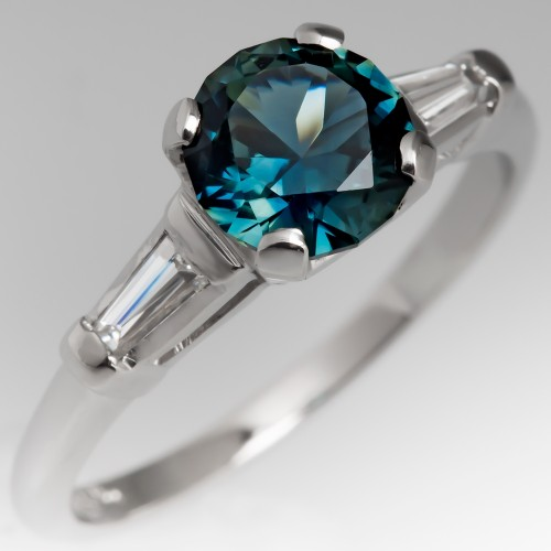No Heat Vibrant Blue Green Sapphire Engagement Ring 1960's Mounting