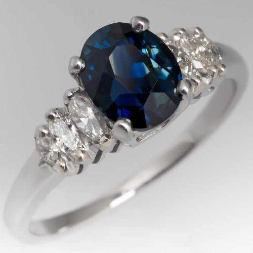 1.7 Carat Deep Blue Sapphire Engagement Ring Platinum 1960's Mounting