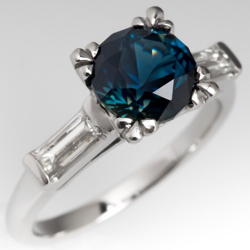1.8 Carat No Heat Rich Blue Sapphire Engagement Ring 1960's Mounting