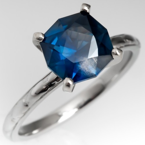 2.8 Carat Unique Blue Green Sapphire Engagement Ring Orange Blossom Band