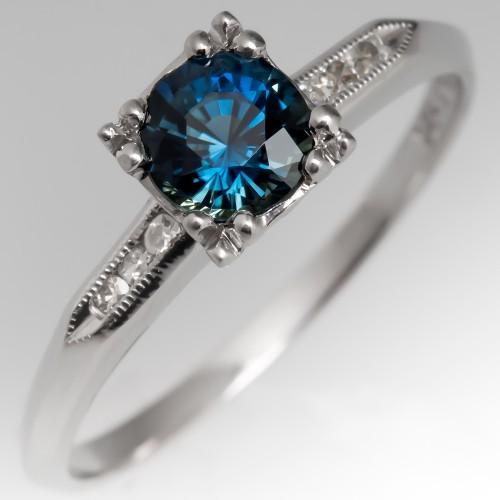 1940's Vintage Platinum Ring with Blue Green Sapphire Center