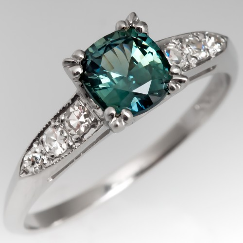 Teal Cushion Cut Sapphire Engagement Ring 1940's Platinum Mounting