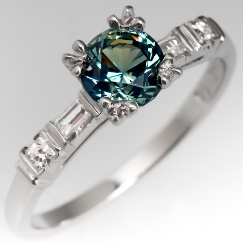 No Heat Blue Green Sapphire in Vintage 1940s Platinum Ring