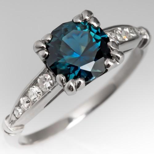 Blue Green Sapphire Ring in 1930's Art Deco Platinum Setting