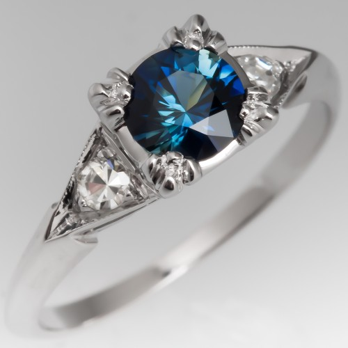Vivid Blue Green Sapphire in 1950's Vintage Mount 14K Gold