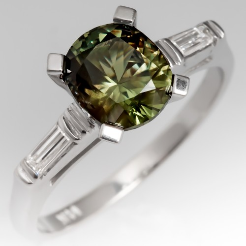 Green Montana Sapphire Engagement Ring Vintage Platinum Mounting