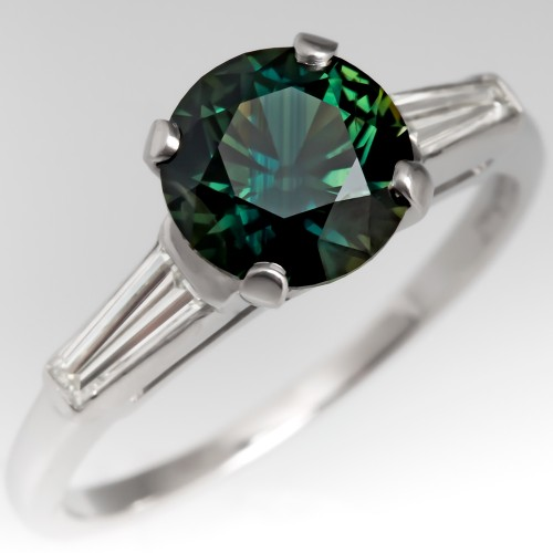 Amazing Green Montana Sapphire Engagement Ring Vintage Platinum Mounting