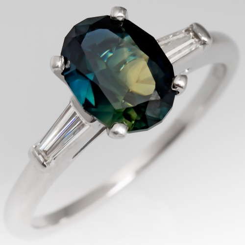 Dark Bi-Color No Heat Sapphire Engagement Ring Platinum