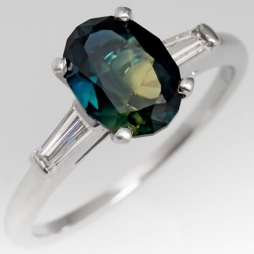 Dark Bi-Color No Heat Sapphire Engagement Ring Platinum
