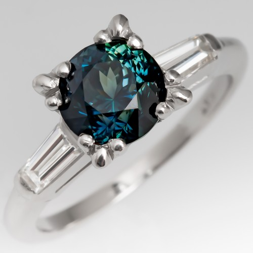 No Heat 1.8 Carat Rich Blue Green Sapphire Engagement Ring