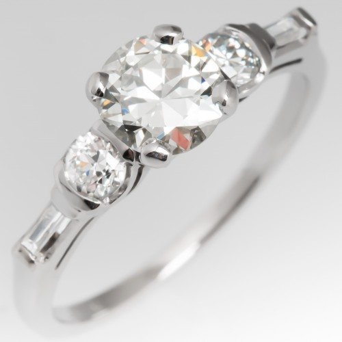 Jabel 1930's Engagement Ring Transitional Cut Diamond Platinum