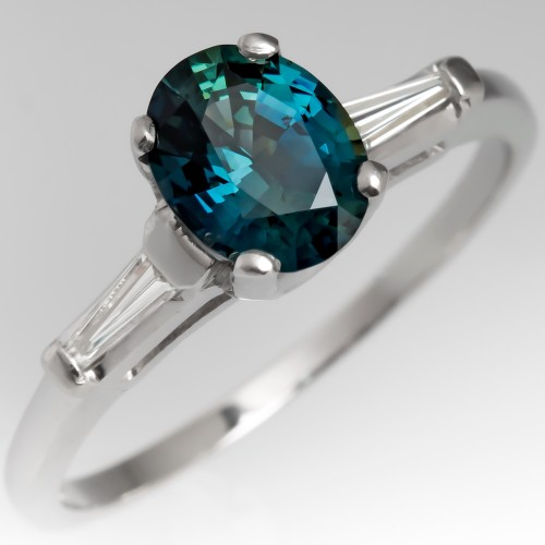 Vibrant Blue Green Sapphire Engagement Ring 1950's Baguette Mounting