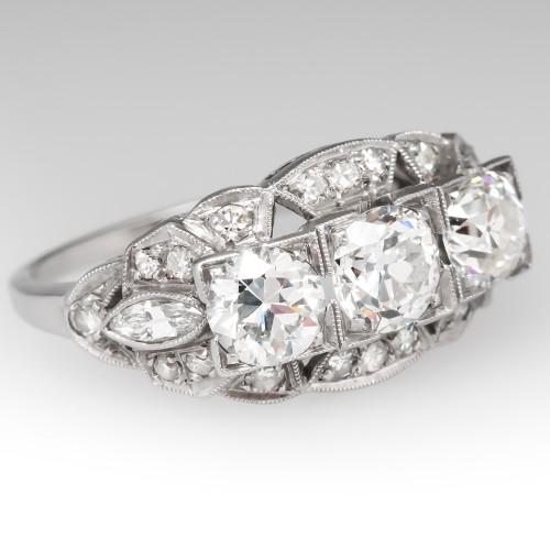 Filigree 1930's Engagement Ring Three Stone Old Euro Diamonds Platinum