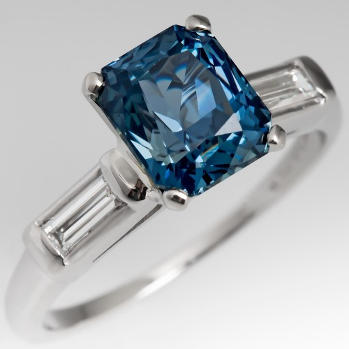 Stunning 3.2 Carat No Heat Blue Green Sapphire Engagement Ring