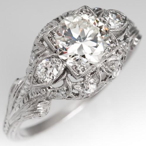 Transitional Cut Diamond Engagement Ring Filigree & Full Engravings