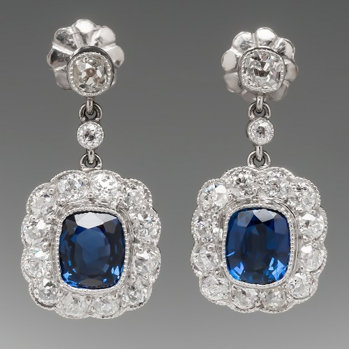 Sapphire Diamond Halo Earrings Platinum Screw Backs
