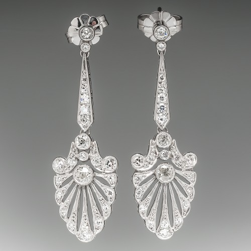 Large Platinum Old Euro Diamond Filigree Dangle Earrings