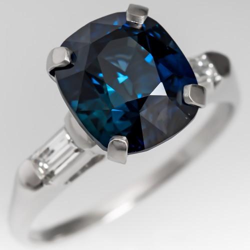 Stunning Blue Green Sapphire Engagement Ring Vintage Platinum Mounting