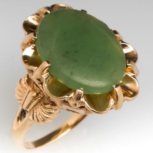 1970's Nephrite Jade Buttercup Ring 14K Gold