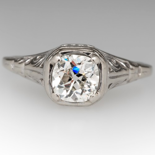 Late 1930's Filigree Engagement Ring Old Miner Diamond 14K