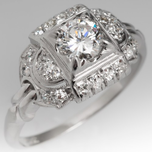 Granat Brothers Vintage Engagement Ring Platinum 1940's