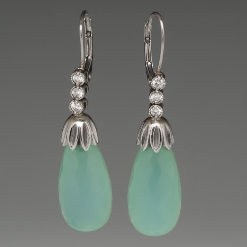 Green Chalcedony & Diamond Drop Earrings 14K White Gold