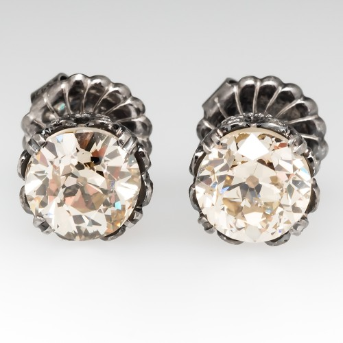 Champagne Old European Cut Diamond Stud Earrings 4.7CTW