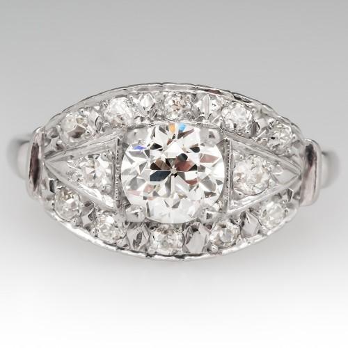 1930's Engagement Ring Old European Cut Diamond Platinum
