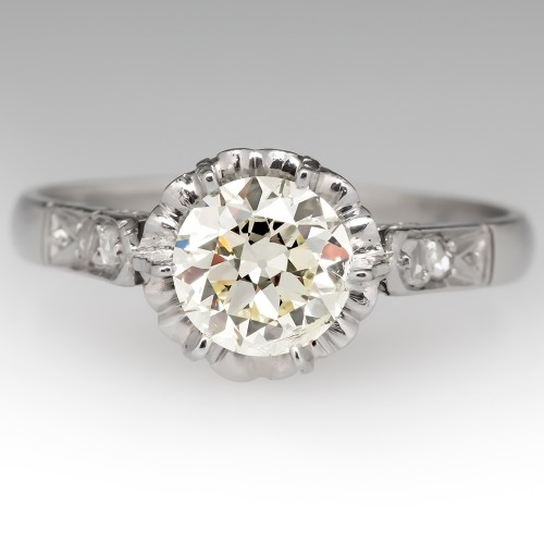 Victorian Buttercup Engagement Ring 1 Carat Old Euro Diamond Platinum