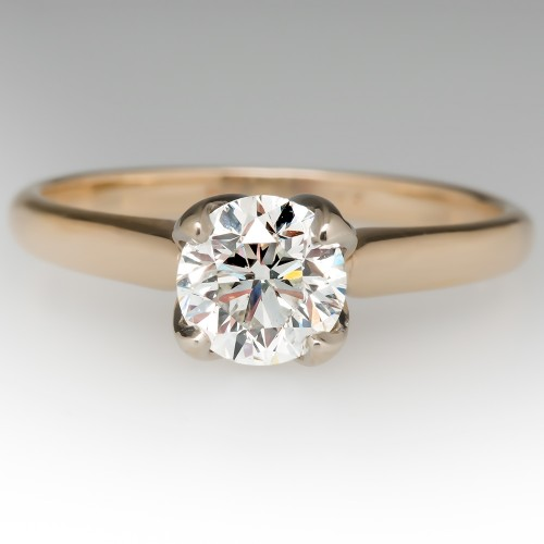 1 Carat Diamond 4-Prong Solitaire Engagement Ring 14K Gold