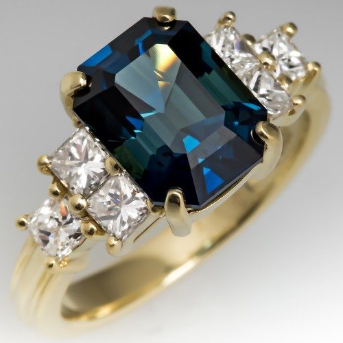 No Heat Emerald Cut Blue Green Sapphire & Diamond Ring 18K Gold