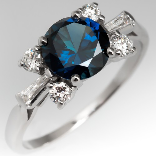Vivid Blue Green Sapphire Ring in Vintage Platinum Diamond Mounting