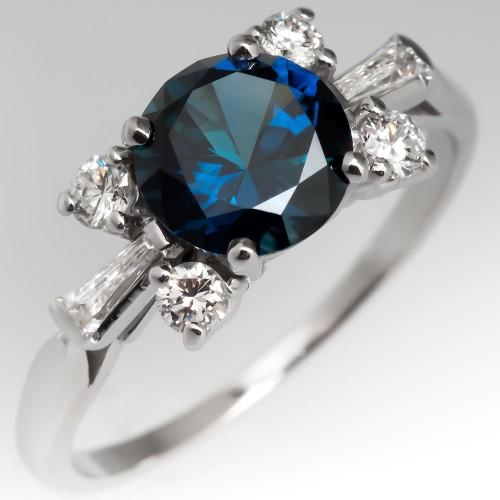 Vivid Blue Green Sapphire Ring in Vintage Platinum Diamond Mounting