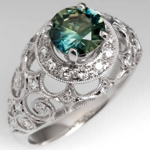 For Teacher Sarah - Blue Green Sapphire Ring with Beautiful Gallery 18K White Gold