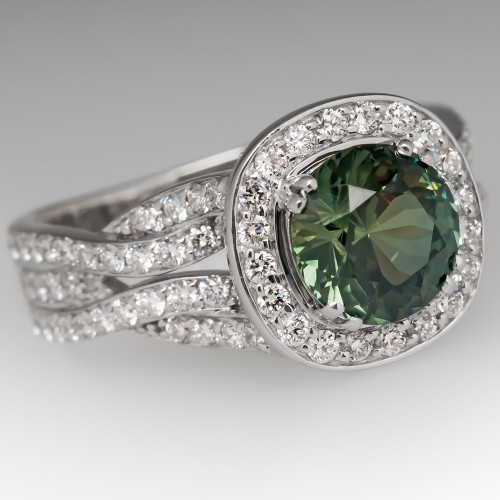 Vibrant 2.2 Carat No Heat Green Sapphire Ring Bony Levy Halo Mounting