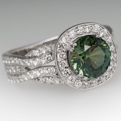Vibrant 2.2 Carat No Heat Green Sapphire Ring Bony Levy Halo Mounting
