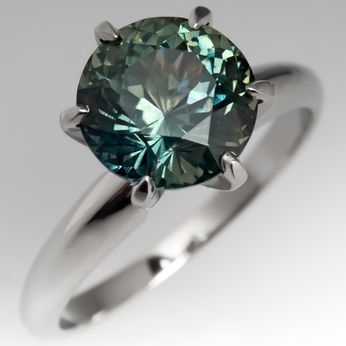 3 Carat Blue-Green Sapphire Solitaire Engagement Ring 6-Prong Platinum