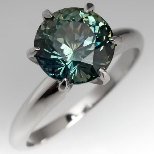 3 Carat Blue-Green Sapphire Solitaire Engagement Ring 6-Prong Platinum