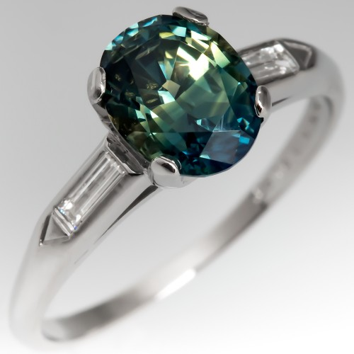 No Heat Icy Blue-Green Sapphire Engagement Ring Vintage Platinum Mounting