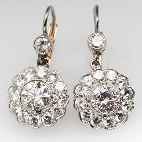 2.5 Carat Floral Diamond Drop Earrings Vintage Style