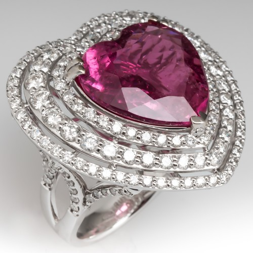 Michael Christoff Tourmaline Diamond Heart Cocktail Ring 18K