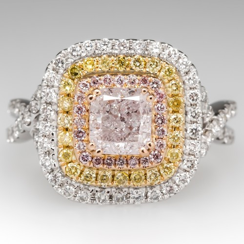 GIA Pink Diamond Halo Engagement Ring 18K White Gold
