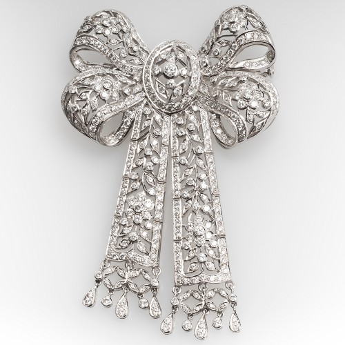 Large Diamond Ribbon Brooch Pin Floral 18K White Gold 4.3CTW